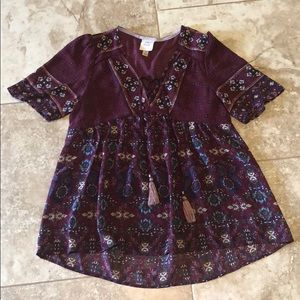 Knox rose S boho babydoll floral tassel blouse